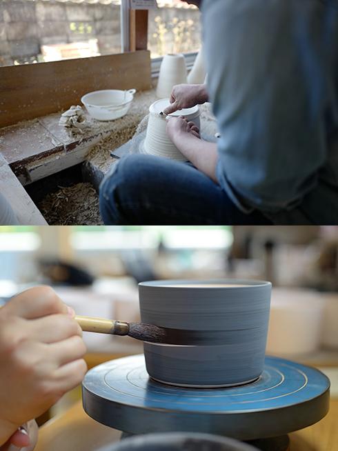 砥部焼の制作の様子