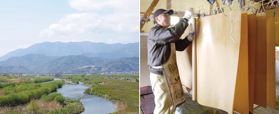 山梨県の南部、市川大門の風景と和紙の職人の画像