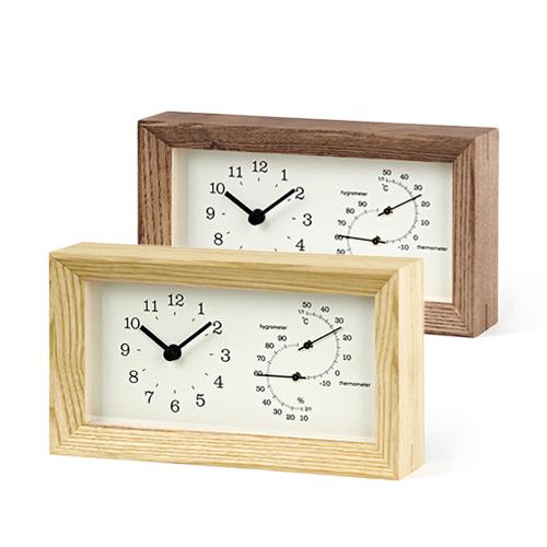 Lemnos /FRAME 温湿度計付時計(LC13-14/2色)