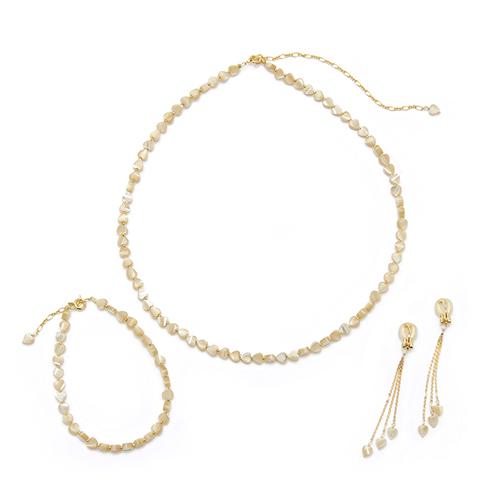 misa /「ハートMOP」ネックレス、ブレスレット、イヤリング