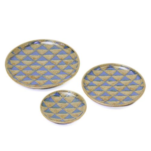 パターン皿 茶青 3サイズ