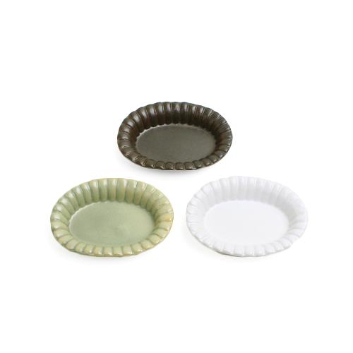 フチ飾り楕円皿 S